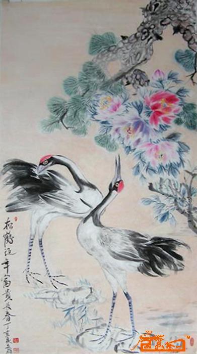 名家 李永民 国画 - 24.松鹤延年 富贵长春